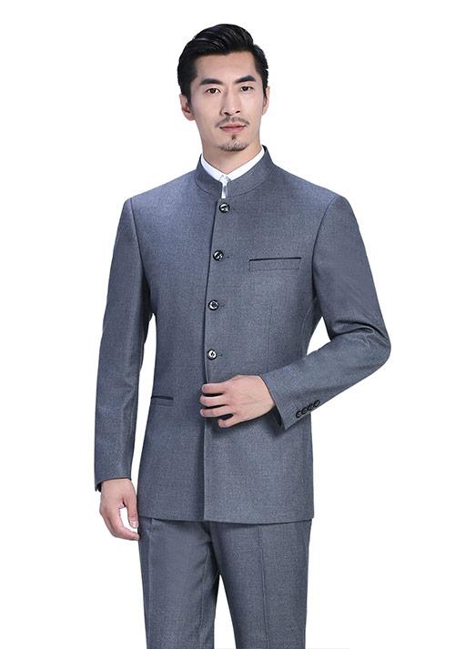 灰色中山装工服