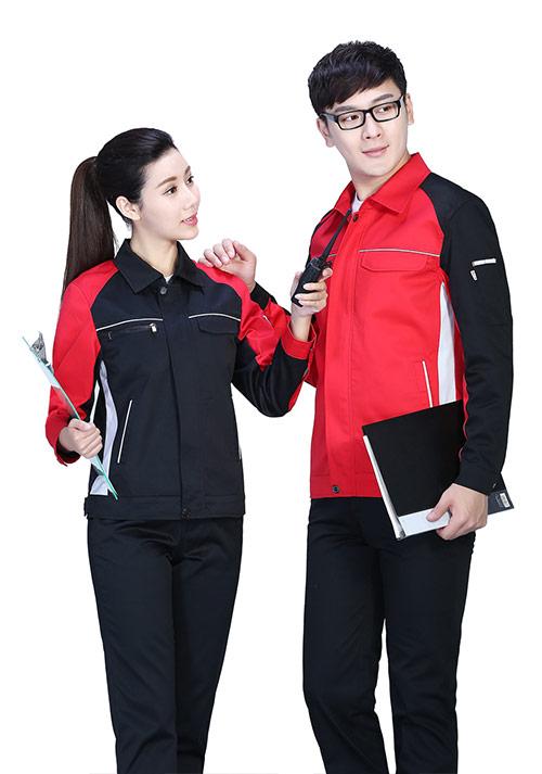 黑拼红时尚工服