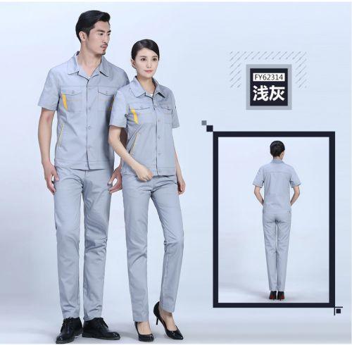 枣红+深裤夏季涤棉细斜短袖工服FY623