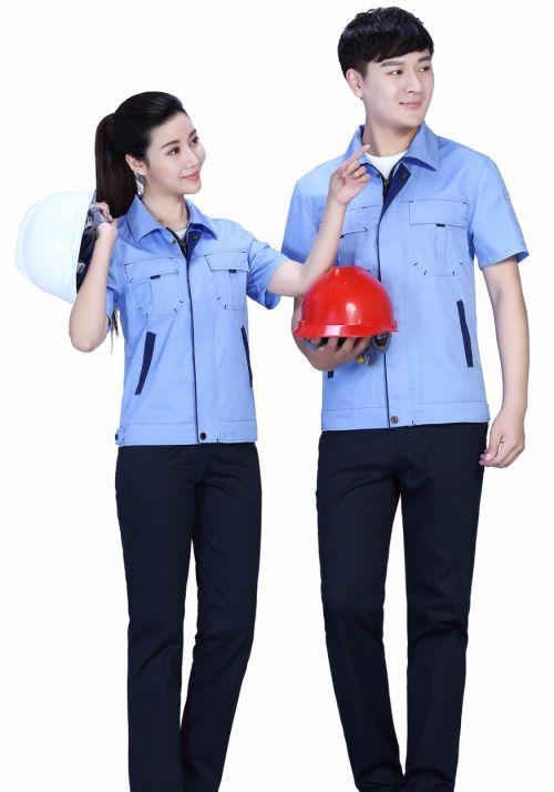新款深蓝色夏季涤棉斜纹休闲工装裤